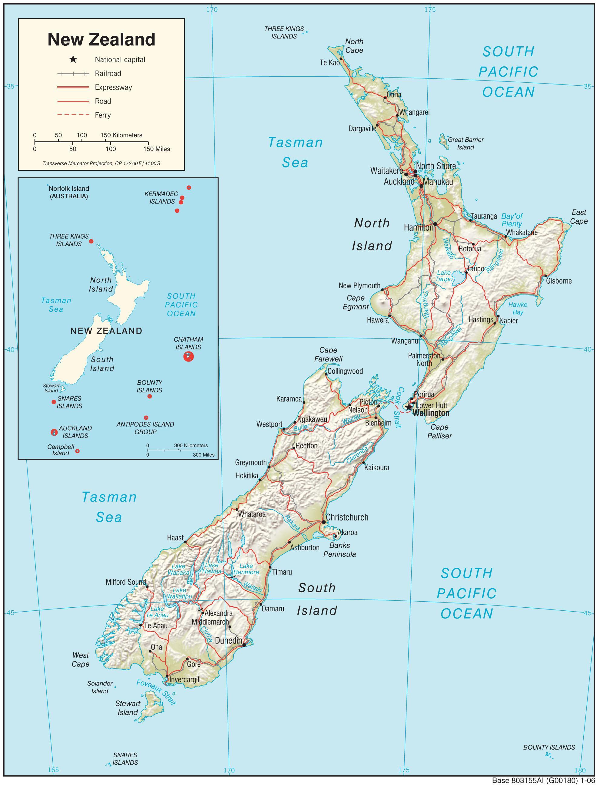 Karta Over Nya Zeelands Norra O Med Distans Karta Over Nya