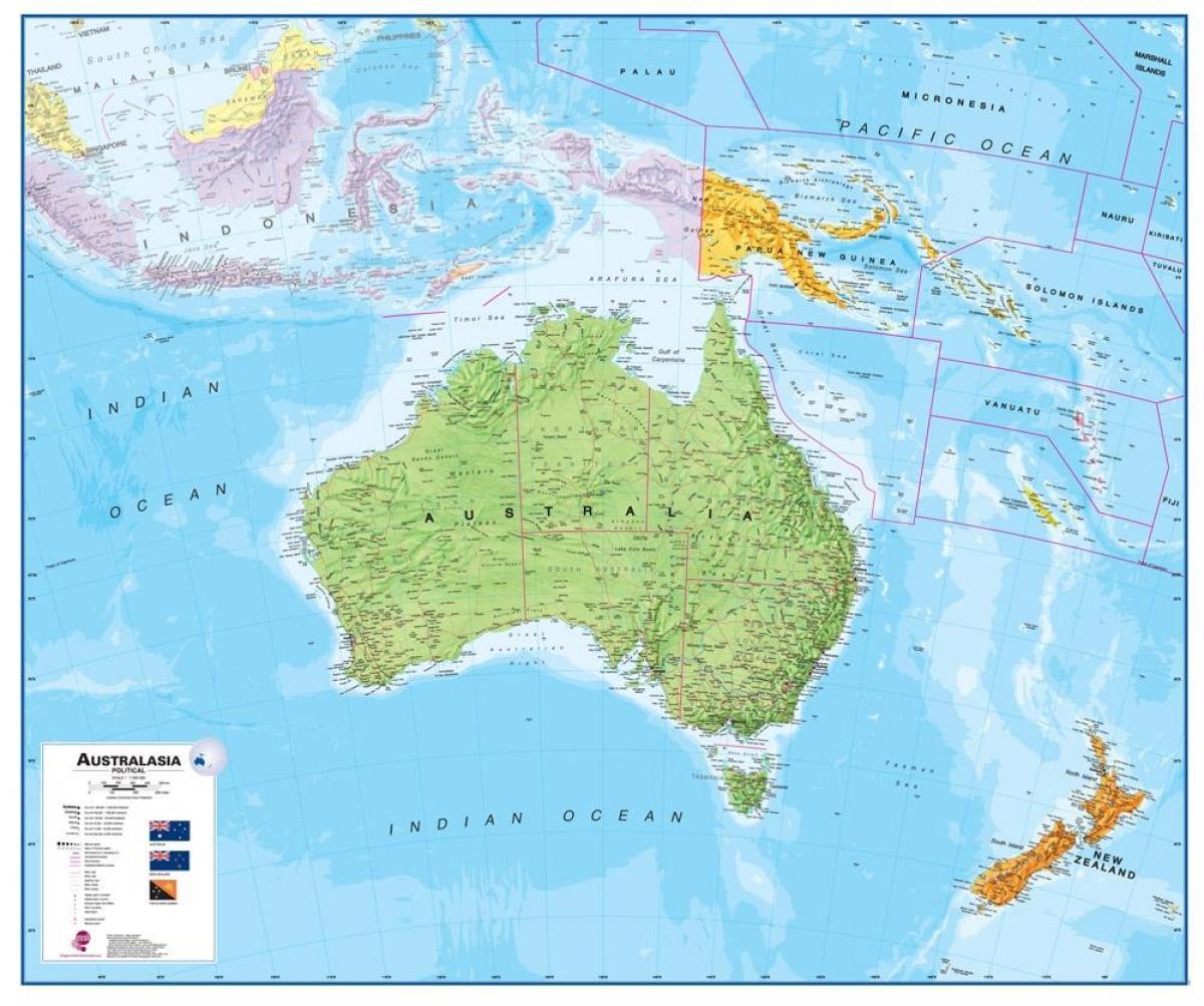 Karta Over Australien Och Nya Zeeland Australien Nya Zeeland