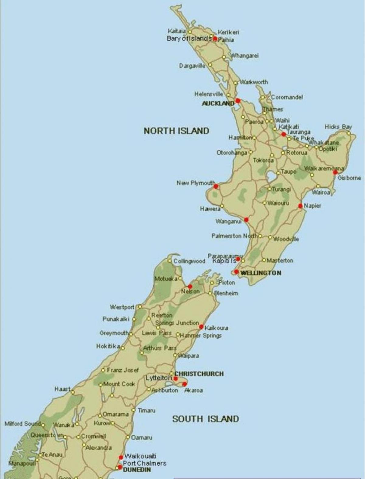Nya Zeeland Hamnar Karta Karta Over Nya Zeeland Portar